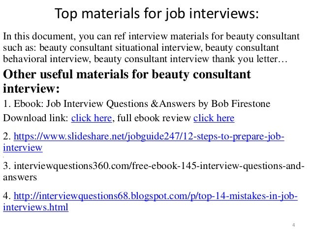 Top 52 beauty consultant interview questions and answers pdf top materials fandeluxe Gallery