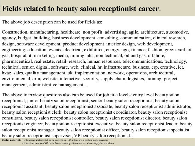 Top 10 beauty salon receptionist interview questions and answers – Job Description for Cosmetology