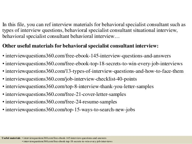 ... 2. In This File, You Can Ref Interview Materials For Behavioral  Specialist Consultant ...