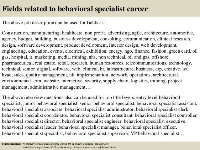 ... 17. Fields Related To Behavioral Specialist ...
