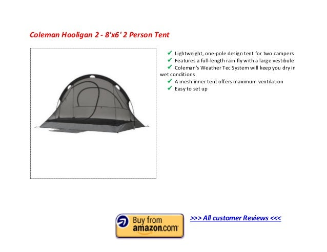 Coleman Hooligan 2 - 8x6 2 Person Tent? ...  sc 1 st  SlideShare & Top 10 Best 2 Man Tent 2013 - 2 Person Tent Reviews to Buy