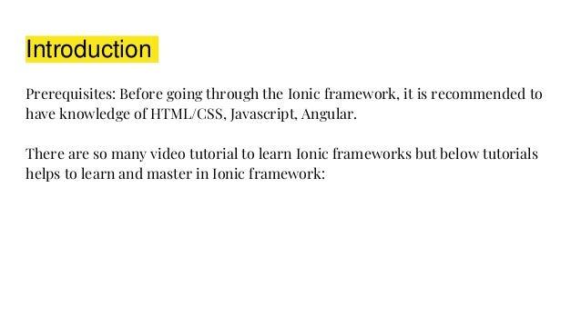 Top 10 best ionic framework tutorials
