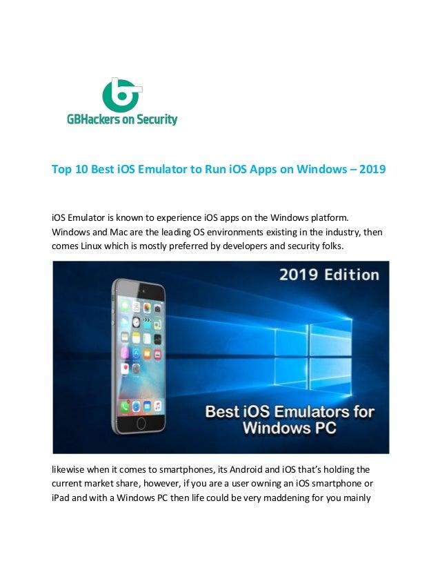 Top 10 Best I Os Emulator To Run Ios Apps On Windows