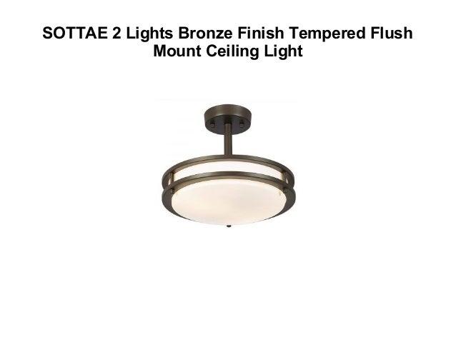 76e06510859 AUDIAN Flush Mount Ceiling Light Ceiling Lamp  11. SOTTAE 2 Lights Bronze  Finish Tempered ...