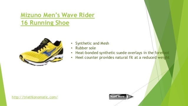 Mizuno Men's Wave Rider 16 Running Shoe • • • •  http://triathlonomatic.com/  Synthetic and Mesh Rubber sole Heat-bonded s...