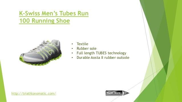 K-Swiss Men's Tubes Run 100 Running Shoe  • • • •  http://triathlonomatic.com/  Textile Rubber sole Full length TUBES tech...