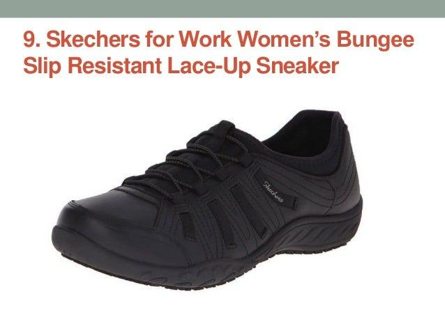 089dc6111ee safeTstep Slip Resistant Women s Sasha Quilt Bow Flat  3. 9. Skechers for Work  Women s Bungee Slip Resistant Lace-Up Sneaker ...