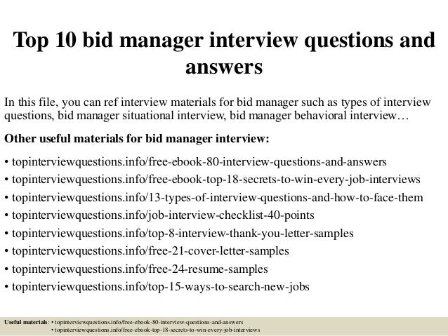 Top 10 Bid Manager Interview Questions And Answers In This File, You Can  Ref Interview ...