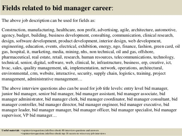 top 10 bid manager interview questions and answers