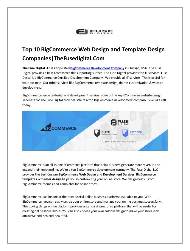 Top 10 Bigcommerce Web Design And Template Design Companies Thefusedi
