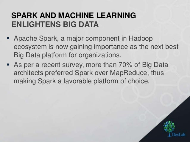 SPARK AND MACHINE LEARNING ENLIGHTENS BIG DATA  Apache Spark, a major component in Hadoop ecosystem is now gaining import...