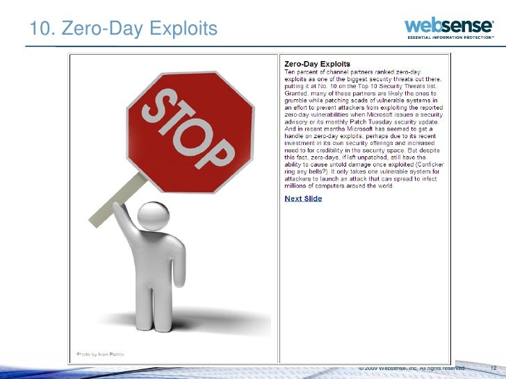 10. Zero-Day Exploits                             © 2009 Websense, Inc. All rights reserved.   12