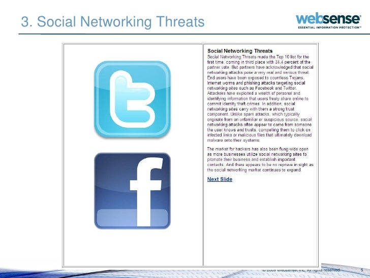 3. Social Networking Threats                                    © 2009 Websense, Inc. All rights reserved.   5