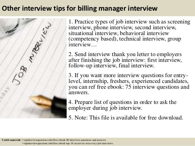 Top 10 billing manager interview questions and answers
