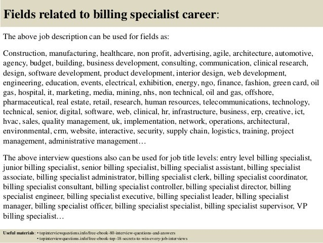 Top 10 Billing Specialist Interview Questions And Answers