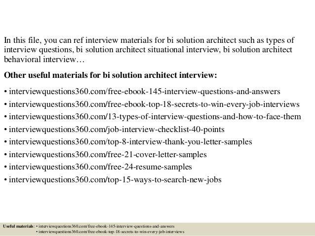 top 10 bi solution architect interview questions and answers - Bi Solution Architect Sample Resume