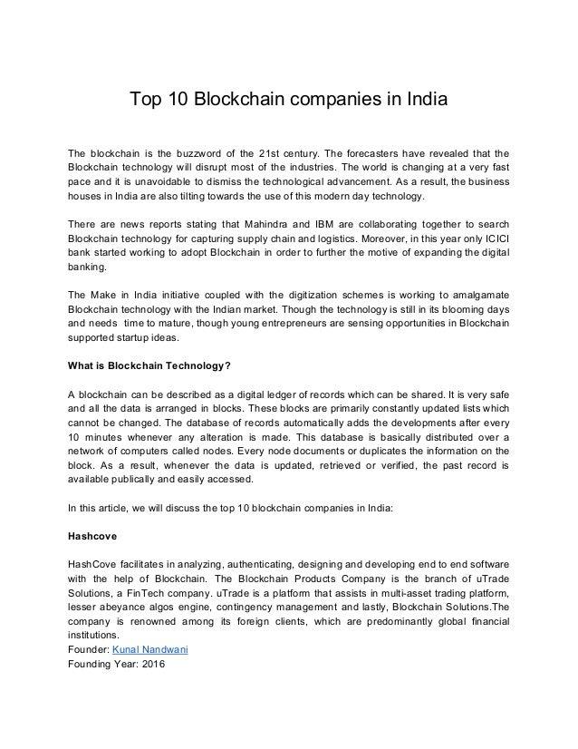 Top 10 blockchain Based companies in India