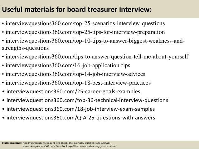 Top 10 board treasurer interview questions and answers – Treasurer Job Description