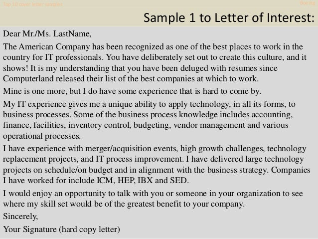 Top 10 Cover Letter Samples Boeing