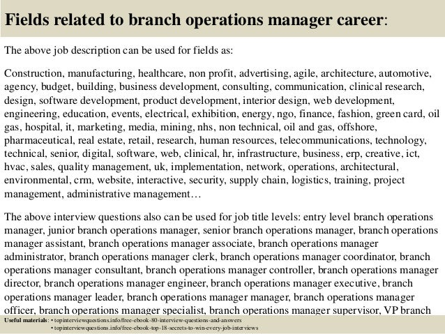 Top 10 branch operations manager interview questions and answers