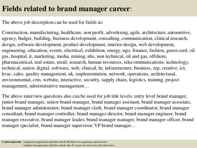 Top 10 brand manager interview questions and answers – Brand Manager Job Description