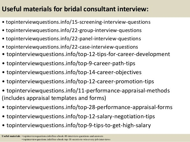 Top 10 bridal consultant interview questions and answers