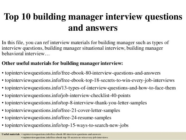 Top 10 building manager interview questions and answers for Questions to ask a builder