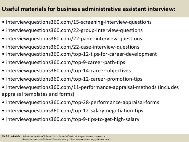 16 useful materials for business administrative assistant interview - Administrative Assistant Interview Questions Answers