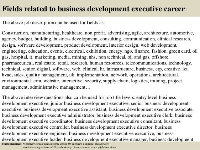 Top 10 business development executive interview questions and answers