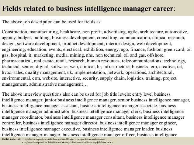 Top 10 business intelligence manager interview questions and answers