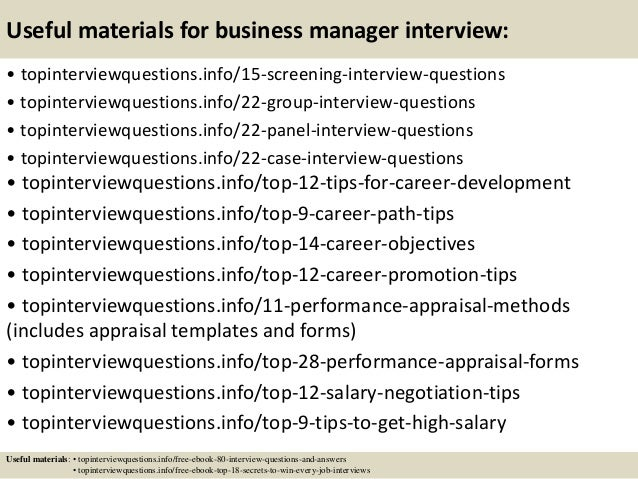 Business Questions To Ask. Top 10 Business Manager Interview Questions And  Answers .