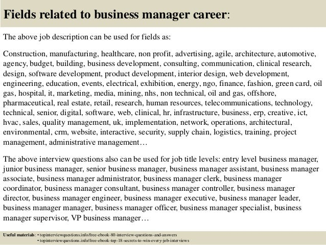 Top  Business Manager Interview Questions And Answers