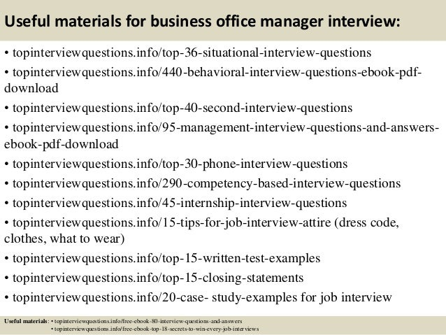 12 useful materials for business office manager interview - Office Manager Interview Questions And Answers