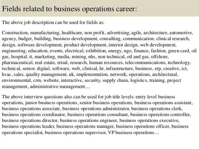Top 10 business operations interview questions and answers