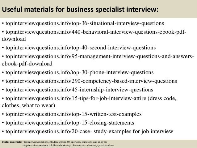 Top 10 business specialist interview questions and answers
