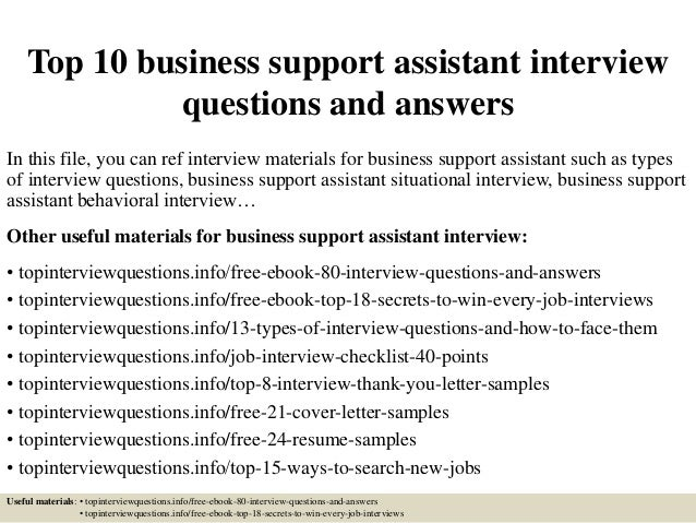 Top 10 business support assistant interview questions and answers