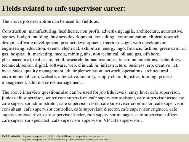 ... 17. Fields Related To Cafe Supervisor ...