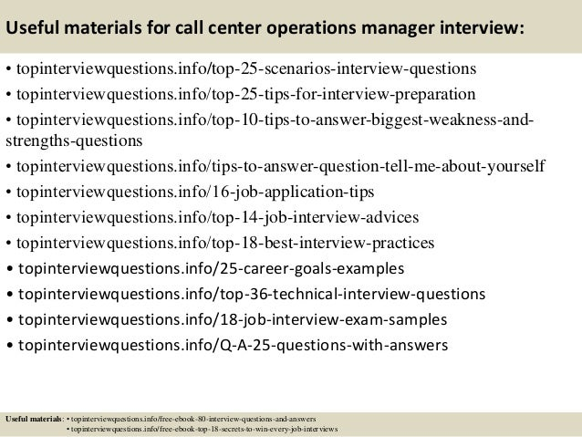 Top  Call Center Operations Manager Interview Questions And Answers