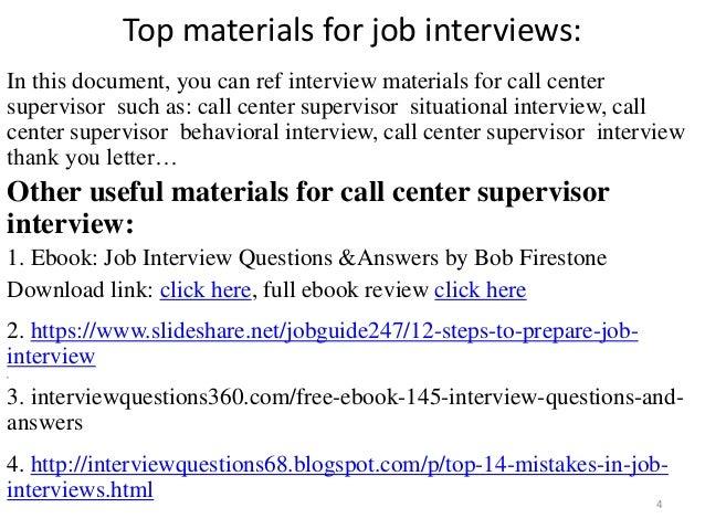 ... Call Center Supervisor Interview; 4. Top Materials For Job ...  Call Center Supervisor Job Description