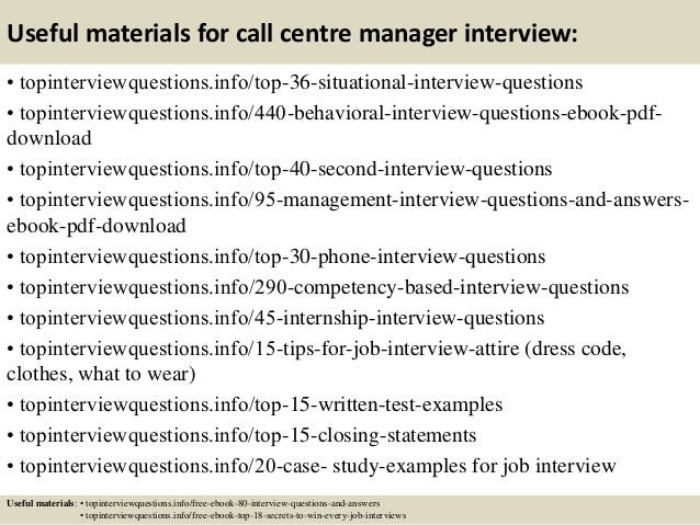 ... 12. Useful Materials For Call Centre Manager ...  Call Center Manager Job Description