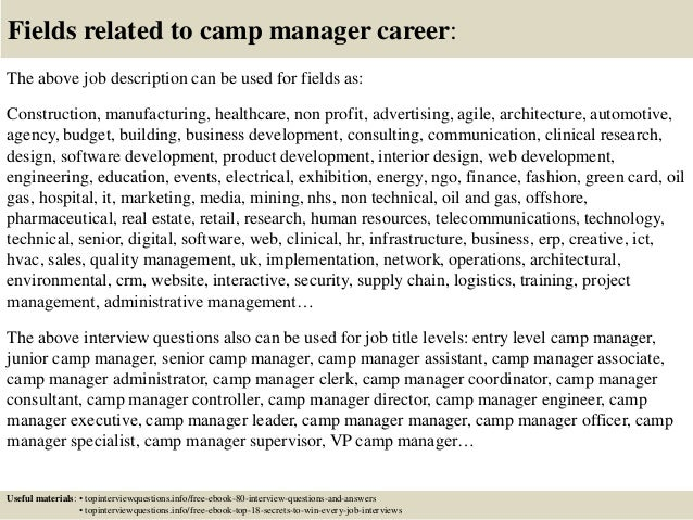 Camp Manager Cover Letter. Best Sample Cover Letters Need Even ...