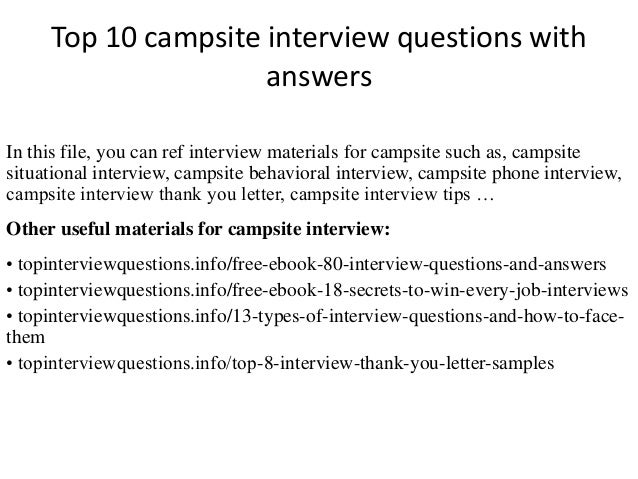 Top 10 Campsite Interview Questions With Answers