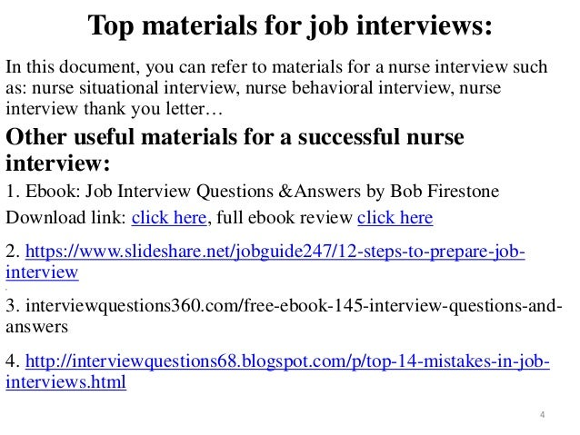 nurse interview 4 - Nursing Interview Questions And Answers