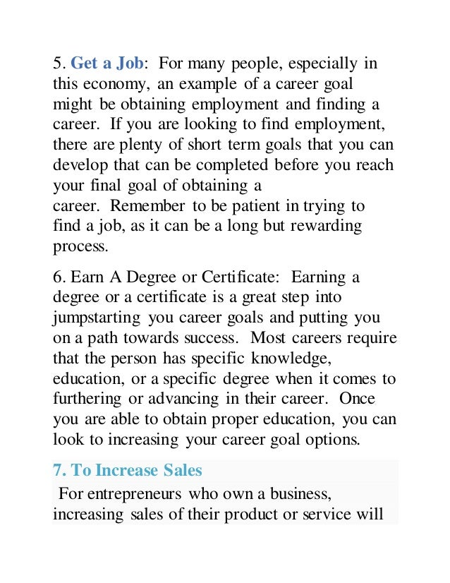Nice SlideShare In Career Goal Examples