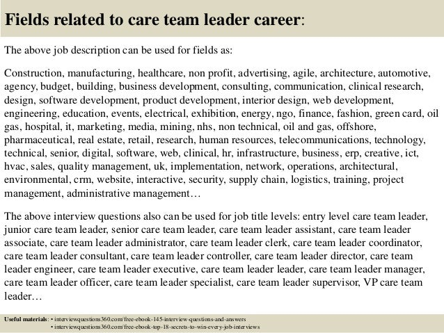 Top 10 care team leader interview questions and answers