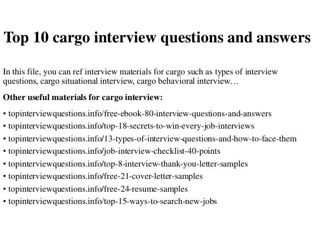 Top 10 cargo interview questions and answers