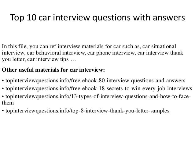 Top 10 Car Interview Questions With Answers