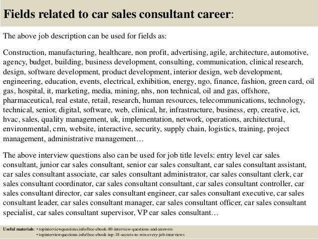 responsibilities of a car salesman