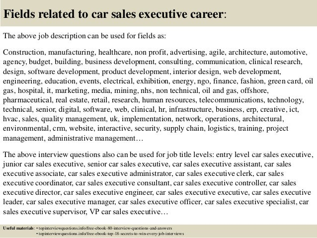 Top 10 car sales executive interview questions and answers