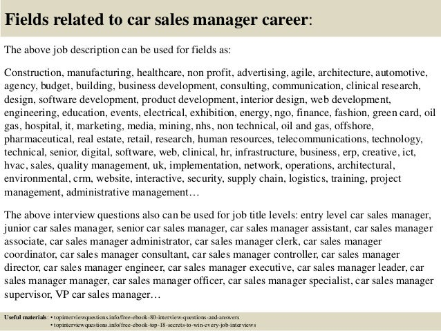 Top 10 car sales manager interview questions and answers